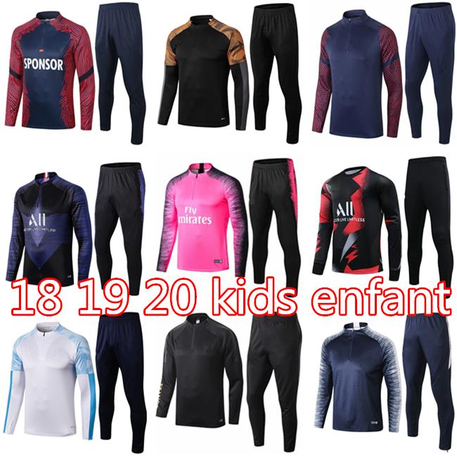 18 19 20 Real Madrid Kids Futebol Tracksuit Kit Mbappe Enfant 2019 2020 Om Marseille Training Suit Tracksuits om Survace Survection Futebal
