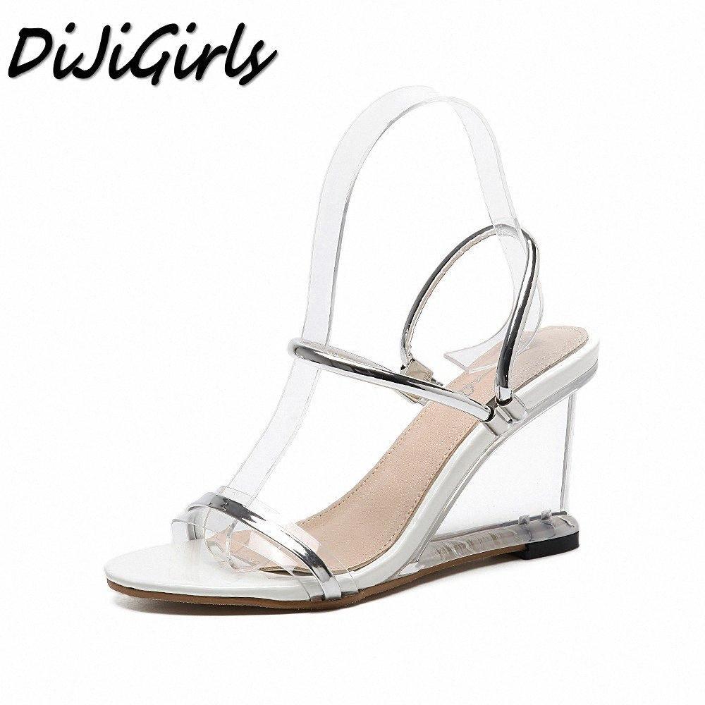 DiJiGirls Yeni Yaz Kadın Gladyatör Sandalet Bayan Takozlar Ayakkabı Kadın Crystal Clear Şeffaf Casual Yüksek Topuklar Ayakkabı Düğün NTF9 # pompaları