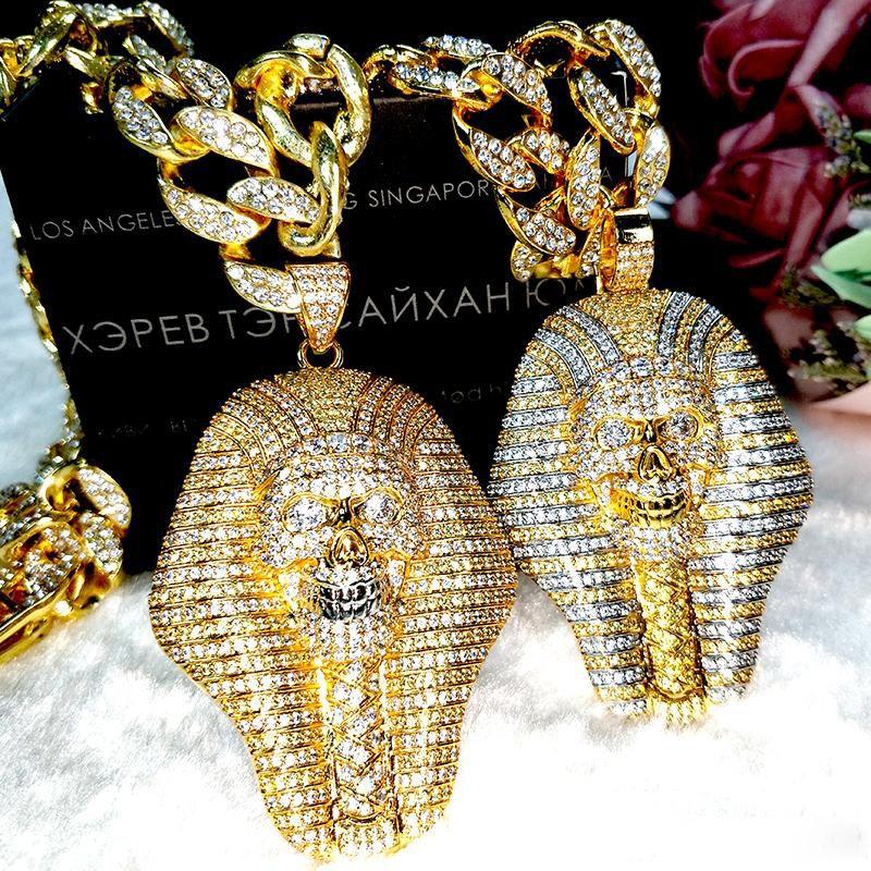 24K 골드 도금 해골 왕은 다이아몬드 펜던트 목걸이 진공 패션 쥬얼리 인기 목걸이 이집트 파라오 구리 크리스탈 지르콘 마스크