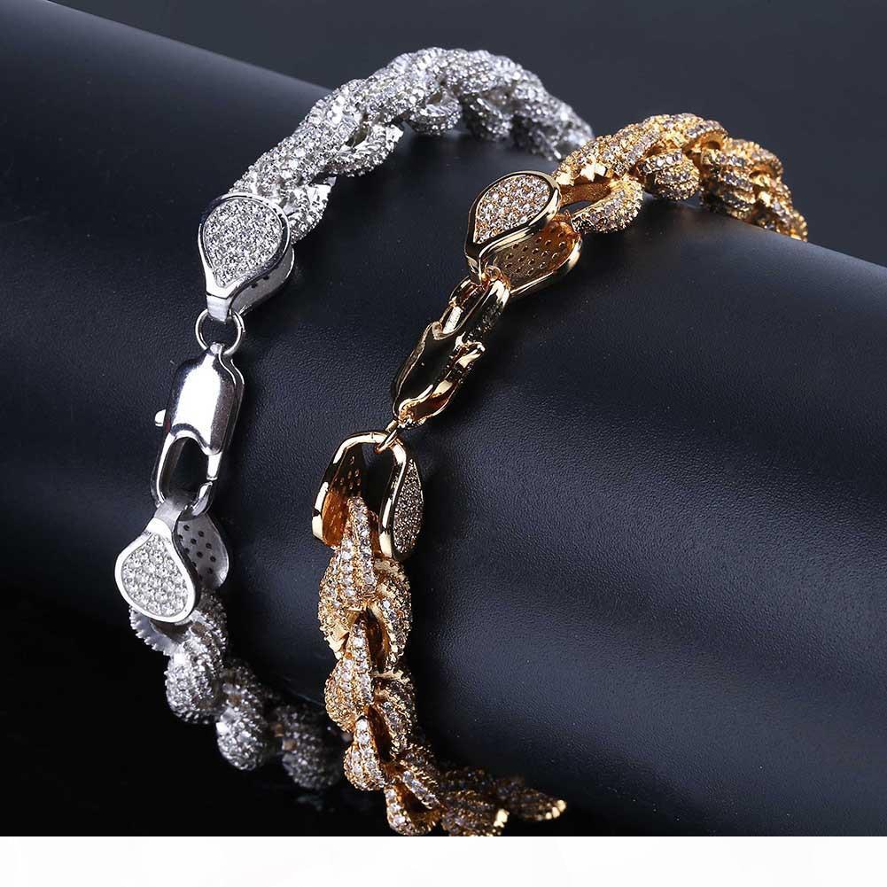 Or 18 carats Glacé pleine Zircon Hommes Cubic Hip Hop cubain corde Bracelet punk rock Rapper diamant bijoux Chaînes cuivre poignet Cadeaux pour les hommes