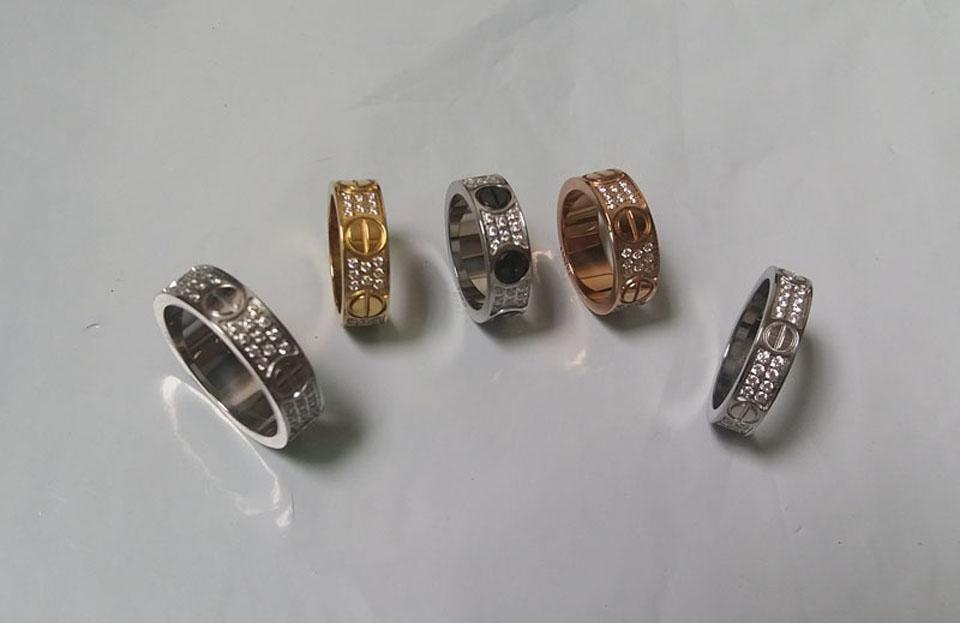 مجوهرات خواتم التيتانيوم الصلب خاتم الخطوبة الزفاف 2/3 صفوف الزركون الماس للرجال والنساء 2 اللون اختيار