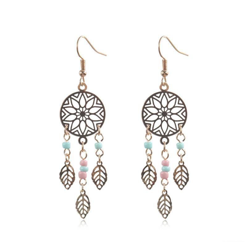 Fashion Ethnic Dangle Drop Big Earring for Women Geometric Round Hollow Leaves Leaf Alloy Pendant Earrings Wholesale