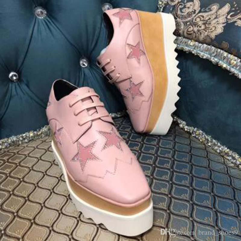 Hombres Mujeres Zapatos casuales de la moda Luxus zapatillas de deporte con cordones de la Plataforma para Caminar grueso zapatos inferiores estrella patrón de la zapatilla de deporte del cuero del ante mm2