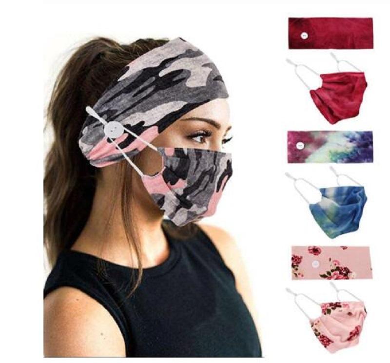Women Floral Headband Wide Strtch Hairbands Cross Turban Button Hair Band Girls Bohemian Yoga Headwrap Hair Accessories