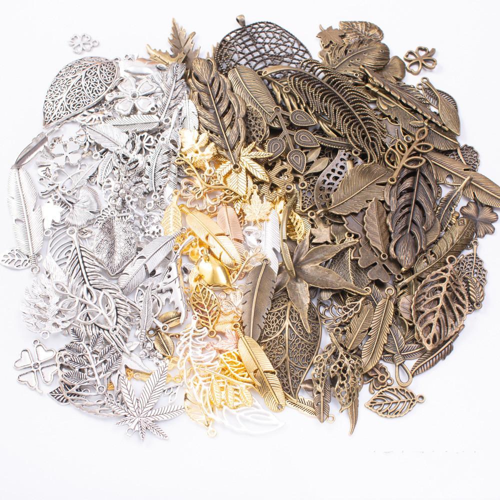 200grams серебряного цвета античной бронза, сусальное золото пера клевер очарование кулон для браслета серьги ожерелья поделок изготовления ювелирных изделий