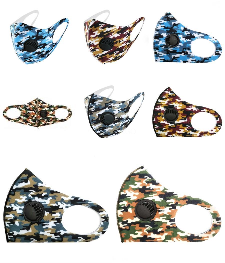 Máscara de hielo seda cara con la respiración Válvula lavable esponja máscara máscaras protectoras reutilizables Negro de reciclaje de diseño impreso Máscaras Gga33 # 367 # 129