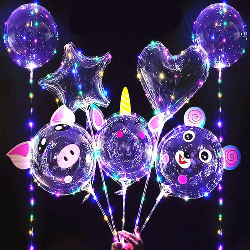20 인치 Bobo 풍선 Led 빛 여러 가지 빛깔의 빛나는 70cm 극 3m 30leds 파티 풍선에 대 한 밤 조명 결혼식 휴가 장식