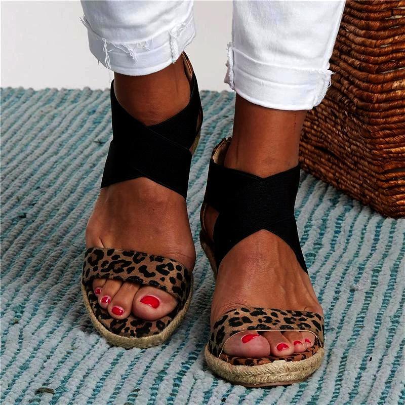 Le donne cunei sandali di estate della fascia elastica Peep Toe Scarpe Donna Cross Platform canapa inferiore signore sandali femminili Plus Size 2020 CX200715