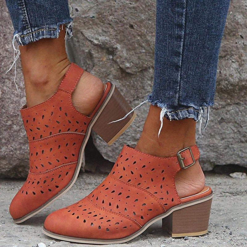 Mujeres de los tacones sandalias mujer con cierre de tiras cuadrado redondo Mujer del dedo del pie zapatos de las señoras para mujer ahueca hacia fuera el tamaño cómodo calzado Plus 43 2rRF #