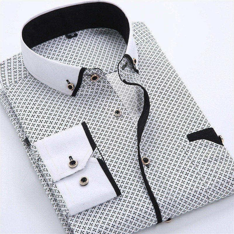 Mens Dress Shirts Designer Casual Slim Fit Long Sleeve Business Shirt Male Dot Print Autumn Formal Cotton Shirts Men New Brand