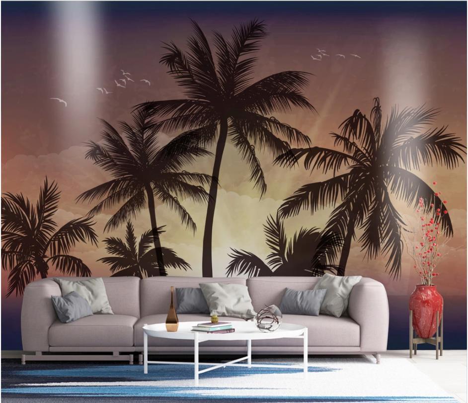 Personalizzato sfondi dipinti a mano della spiaggia di stile del mare sfondi bella carta da parati paesaggio 3d