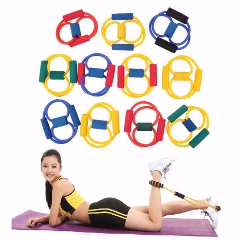 1PC Tensión Resistencia 8 tipo de músculo Extensor de pecho cuerda Gimnasio Banda de entrenamiento de fitness del ejercicio del tubo de la yoga que tiran de los deportes del ejercicio