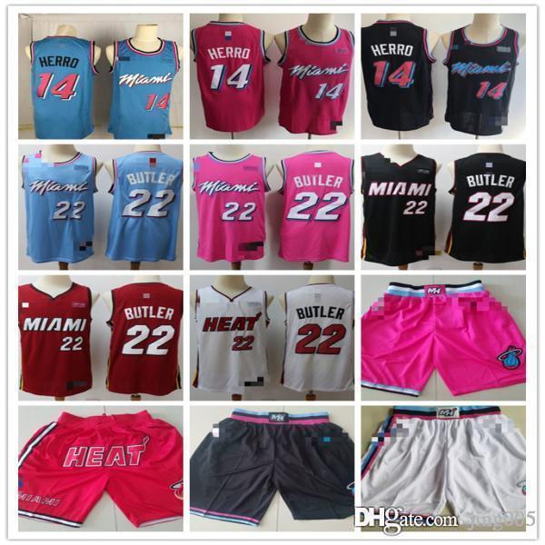 Mens Miami Heat 14 Tyler Herro 22 Jimmy Butler Red White Black Blue Pink Basketball Shorts