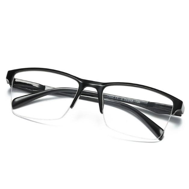 gücü 75 ile +400 iboode Yarım Çerçeve Okuma Gözlüğü Presbiyopik Gözlük Erkek Kadın Uzak görme Gözlük Ultra Hafif Siyah