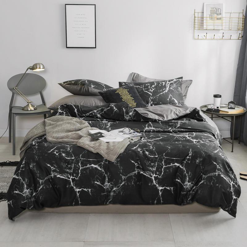 Bianco Nero Grigio Nordic Bedding Set a due letti queen king size 100% foglio di cotone letto set piatto Equipaggiata foglio Copripiumino parrure de lit
