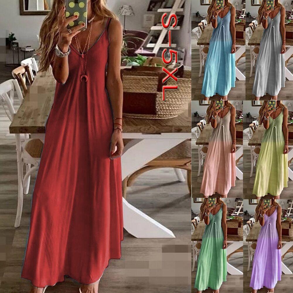 2020 새로운 섹시 슬림 디자이너 여성 드레스 드레스 그라데이션 컬러 편지 슬링 캐주얼 민소매 V 넥 패션 Womens 여름 드레스