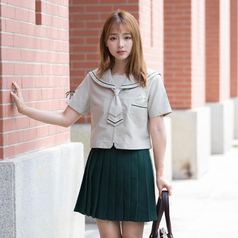 Japanese JK uniform British College style Sailor suit Student school uniform Brown Short sleeve suit Women Pleated Skirt Summer