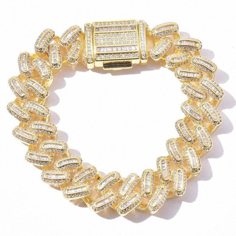 Big 15 millimetri Hip Miami cubana Bracciale ghiacciato fuori il braccialetto di Uomini pavimenta Zircon Oro Argento Colour Jewelry Hop bracciali per le donne J0Vp #