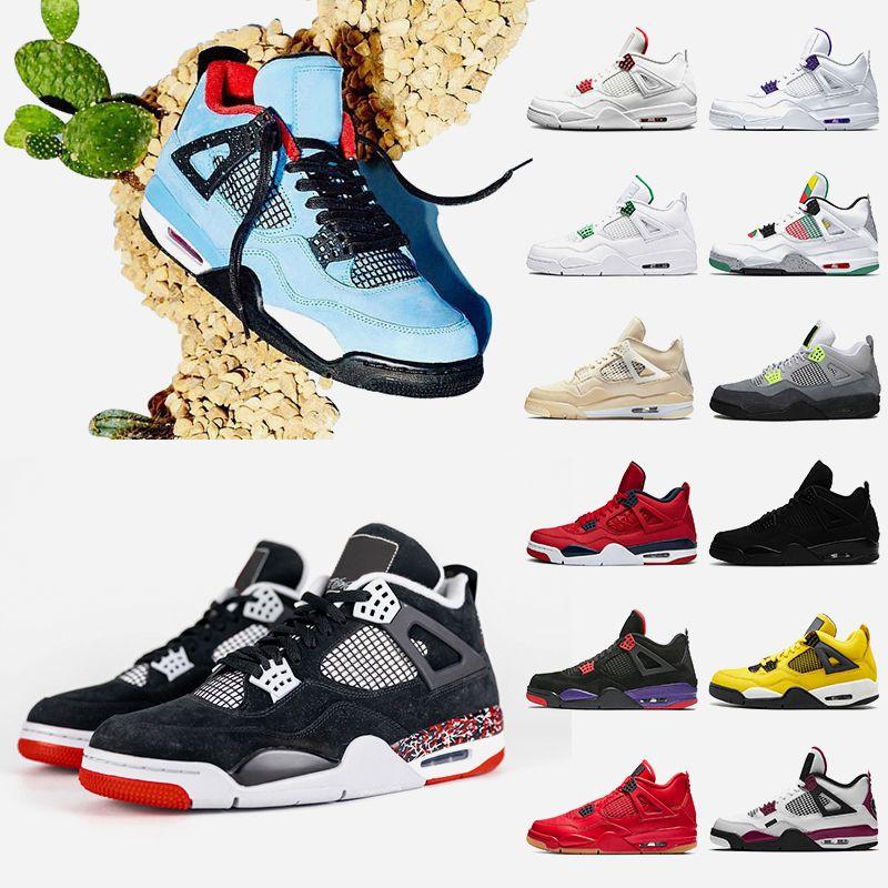 nike air retro jordan sail 4 travis scott 4 4s черный кот 2020 мужская баскетбольная обувь корт фиолетовый красный металлик разводят рапторов женские кроссовки кроссовки