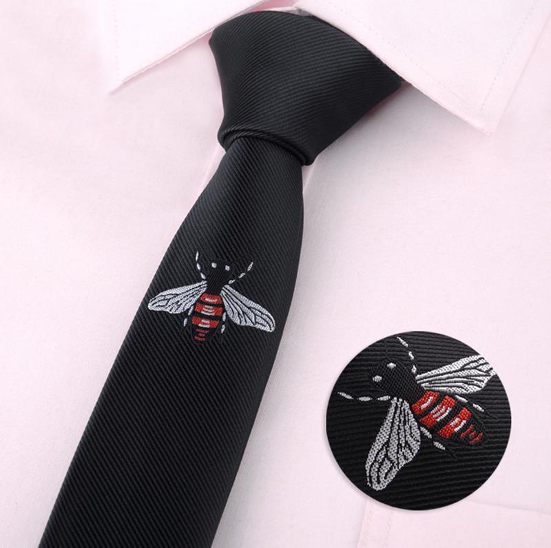 2020 Moda mens clássico dos desenhos animados animais Bee borboleta Beard vassoura magro poliéster gravatas Bordado ocasional Black Tie