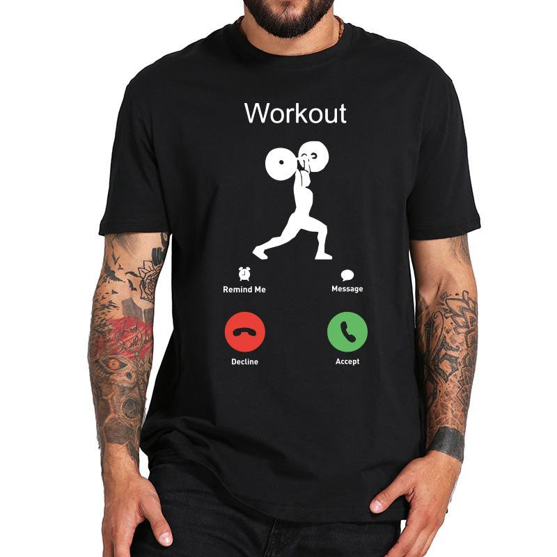 Phone Call T shirt Weightlifting Chest Workout Bodybuilding Artistic Design Short Sleeved 100 Cotton T shirt
