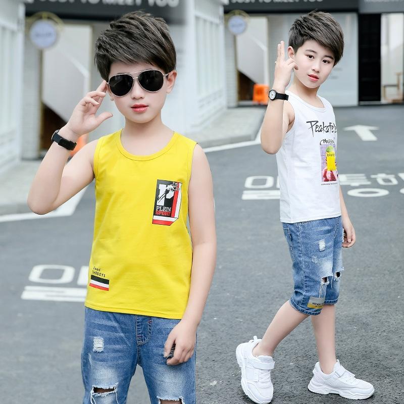 Лето 2020 новый мальчик мальчика и детей без рукавов сверху 9 средних и большой детский тонкие летние футболки моды Top жилет жилет 12