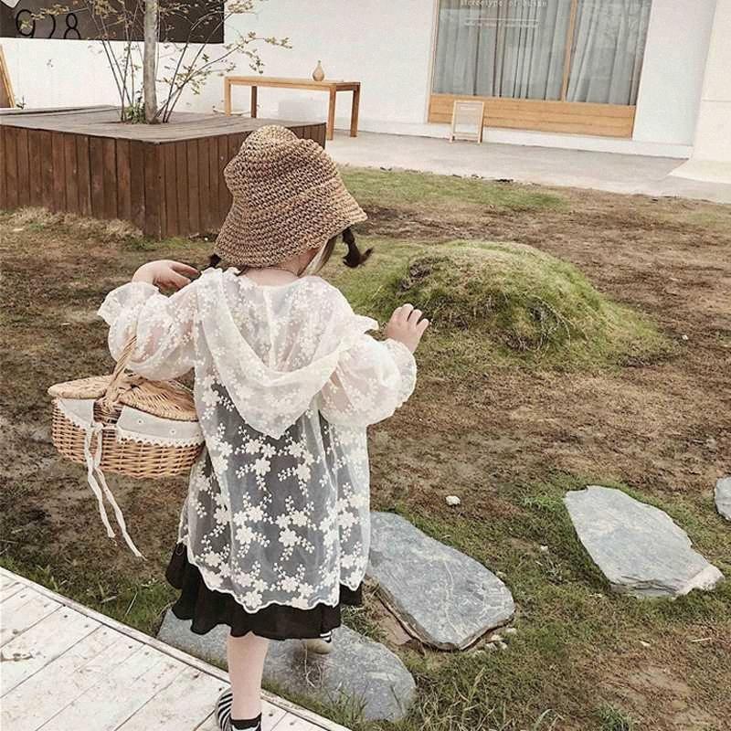 Kızlar Dantel Bluz Hırka Çiçek Yaz Dantel Hollow Güneş Koruma Ceketler Kapşonlu Çocuk İnce Dış Giyim İçin Kızlar 2 4 5 6 7 8 yaşında iNKR #