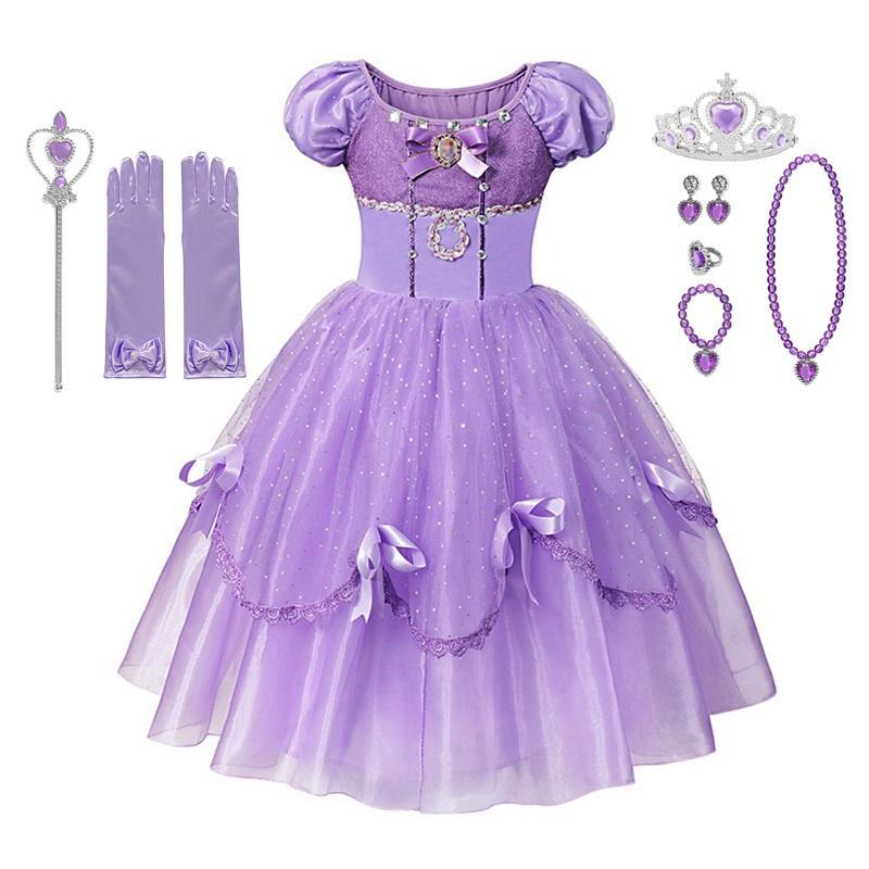 MUABABY Deluxe Elbise Kız Yaz prenses elbise Balo Çocuklar 4 Katmanlar Kat Uzunluk Rapunzel Cosplay Kostüm