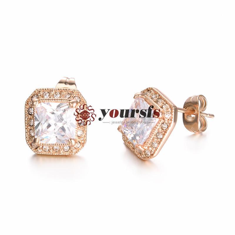 Orecchini Brillanti Trendy Brilliant 18 K Placcato oro rosa Stunning Austria Crystal Emulational Diamond Stud Vogue Earring per le donne Wedding