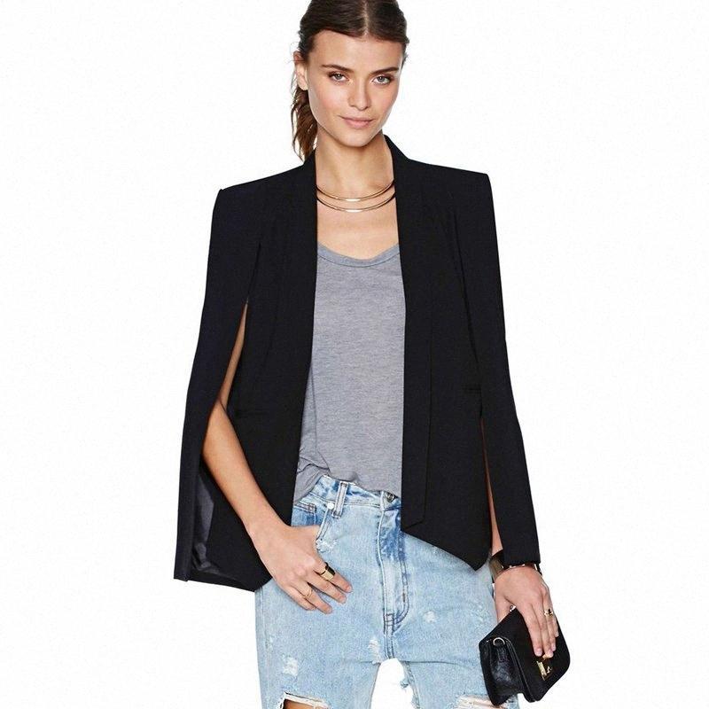 Für Frauen Schwarz Weiß Cape Jacke Revers Split Blazer Jacke Anzug Büroarbeitskleidung vorne offen Mantel Mäntel Frauenoberteile x1OV #