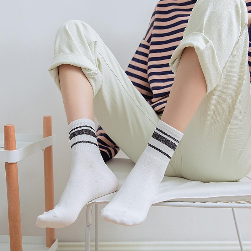 WJb4s Automne Luokou or horizontal et chaussettes barre de l'argent pour les nouveaux enfants de coton femmes soie enfants pour femmes mi-mollet sport respirant de façon
