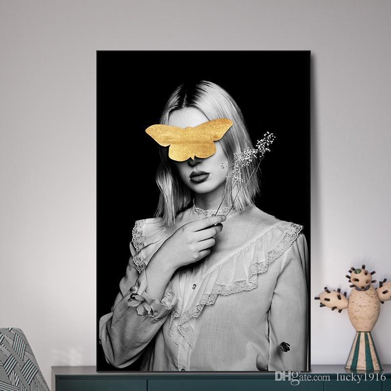 3 Paneller Nordic Moda Kadın Tuval Yağlıboya Resim Portre Salon İskandinav Ev Dekorasyonu için poster Baskılar Özet Duvar Resimleri