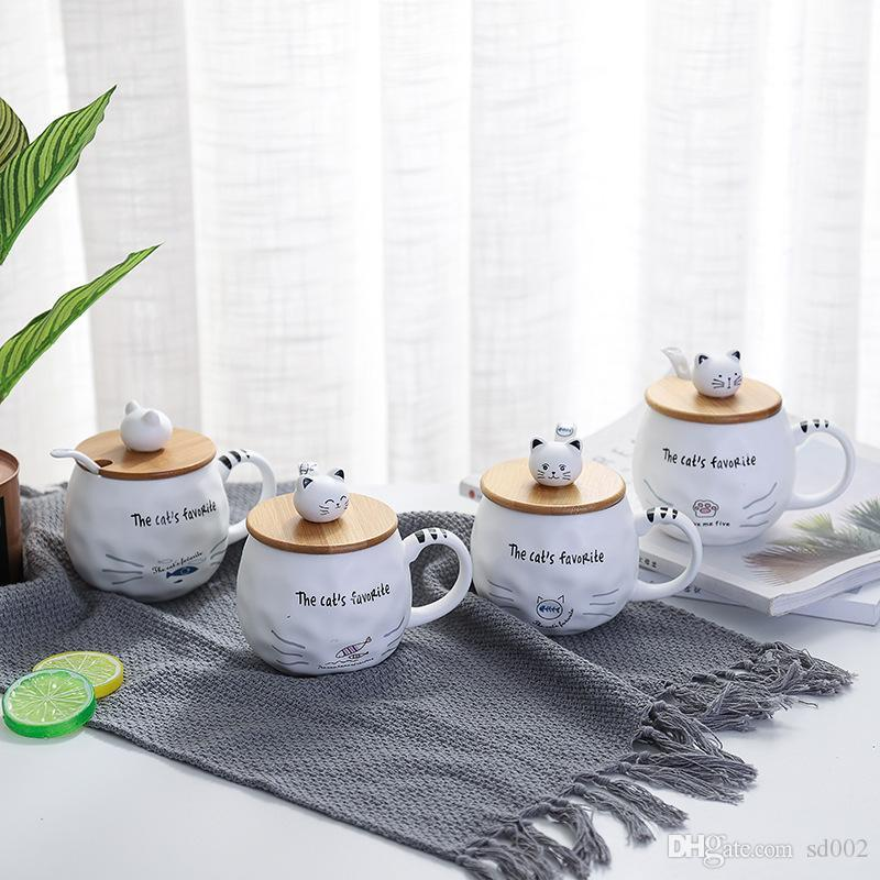 Keramik Haushalt angebaute Griff Cup Cartoon Multi Expression Kitty Büro-Becher Reizende Kaffeebecher Pure Color: Student 9 7bwE1