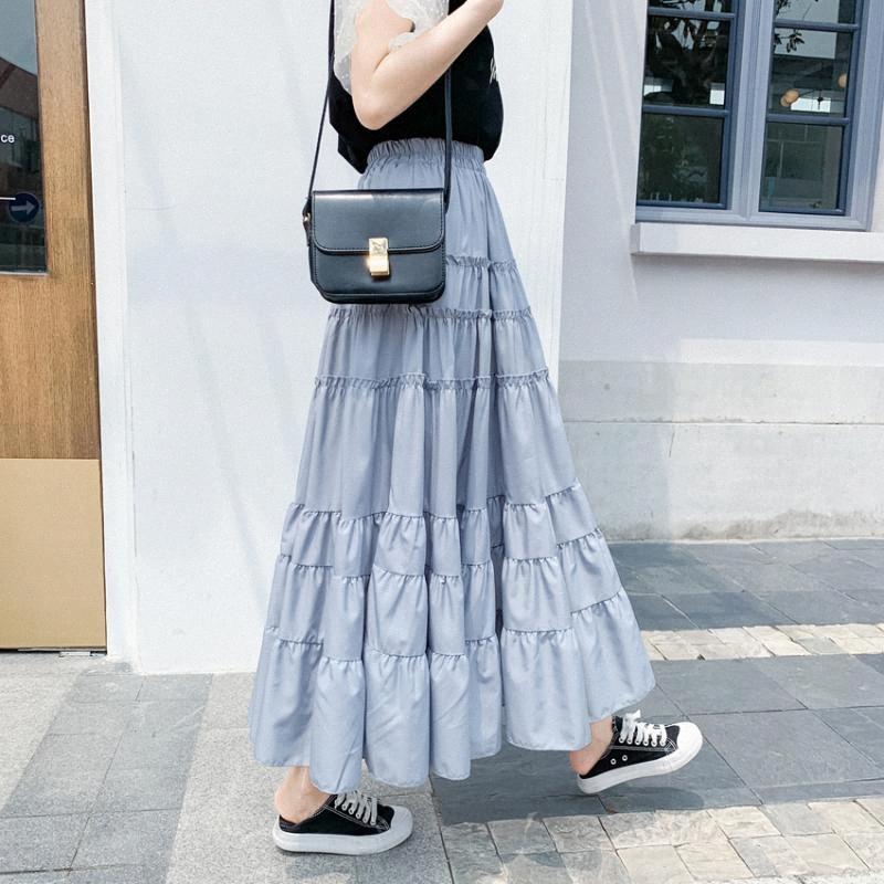 2020 2020 Verano de cintura alta Una Oficina Estilo de línea bordea a las mujeres de Corea señoras de la torta de las colmenas de la falda larga ocasional del Mediodía Becerro Faldas Mujer M4cz #