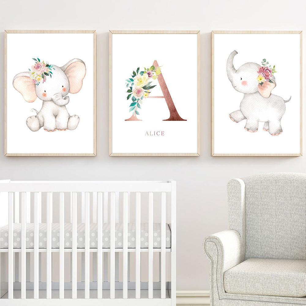 Personaliza Nome Posters Nursery Wall Art Elefante da pintura de tela impressões Nordic Poster Recados Pictures bebê Bedroom Decor