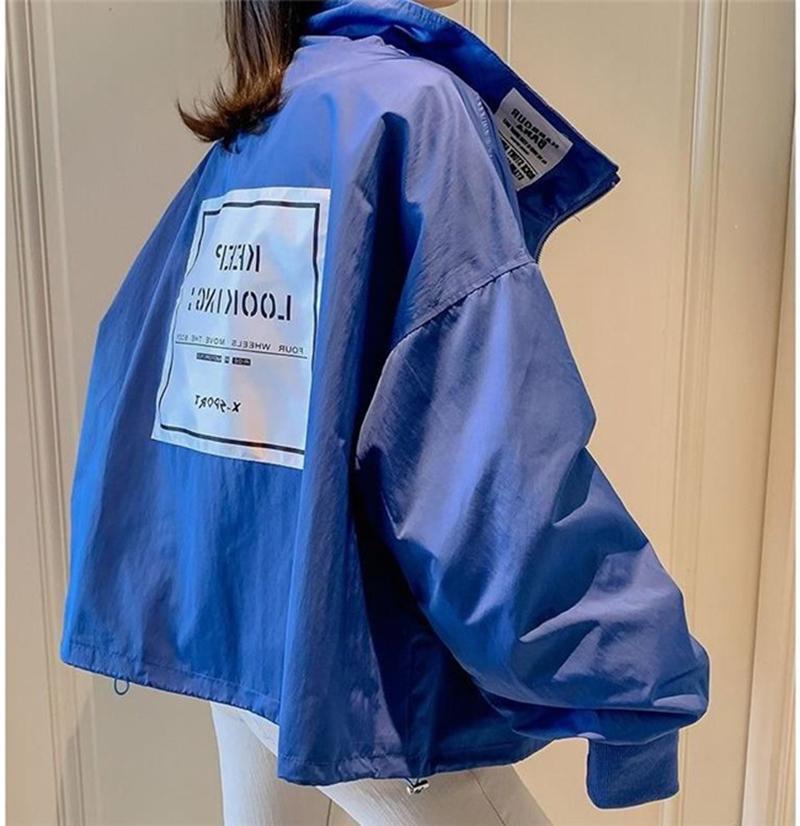 Chaqueta rompevientos otoño de las mujeres chaquetas de manga larga básica floja Harajuku Streetwear la chaqueta de bombardero de gran tamaño de las mujeres Outwear CX200725