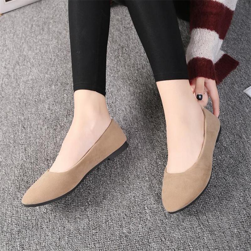 Plus Size 35-43 appartamenti delle donne di slittamento su Flat scarpe delle scarpe di colore della caramella donna Mocassini pelle scamosciata del Faux barca signore Ballerine Zapatos Mujer CS01
