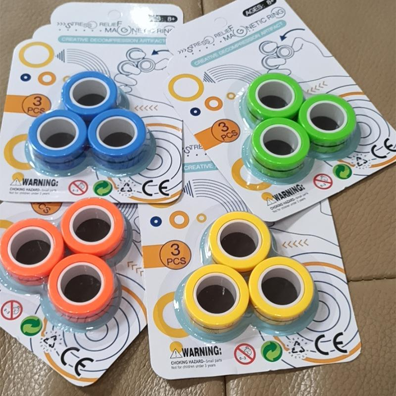 Anti-Stress Finger Magnetic Rings For Autism ADHD Anxiety Relief Focus Kids Decompression Fingertip Toys Magic Ring Props Tool