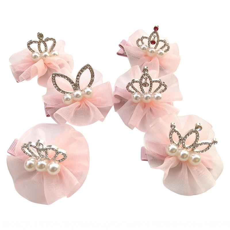 Korean Children's snow yarn tie plate knot hairpin lace jewelry Lace Diamond shop Princess Diamond Crown hairpin