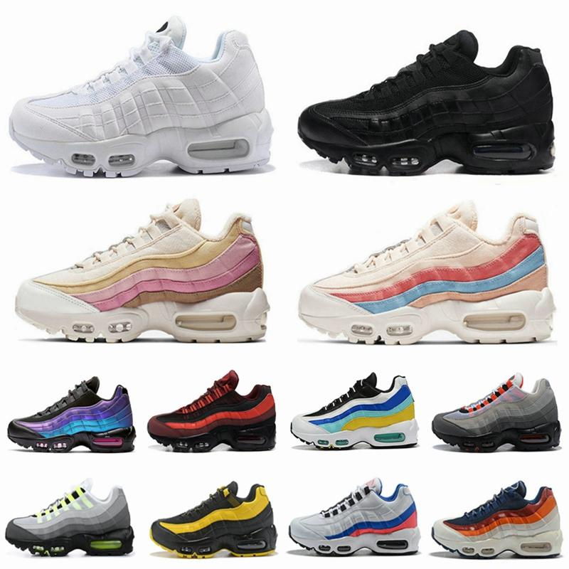95s Running Shoes Rainbow Neon Laser Fuchsia Red Orbit Bred Aqua Triple Black White Mens Trainers Women Sports Sneakers Size 36-46