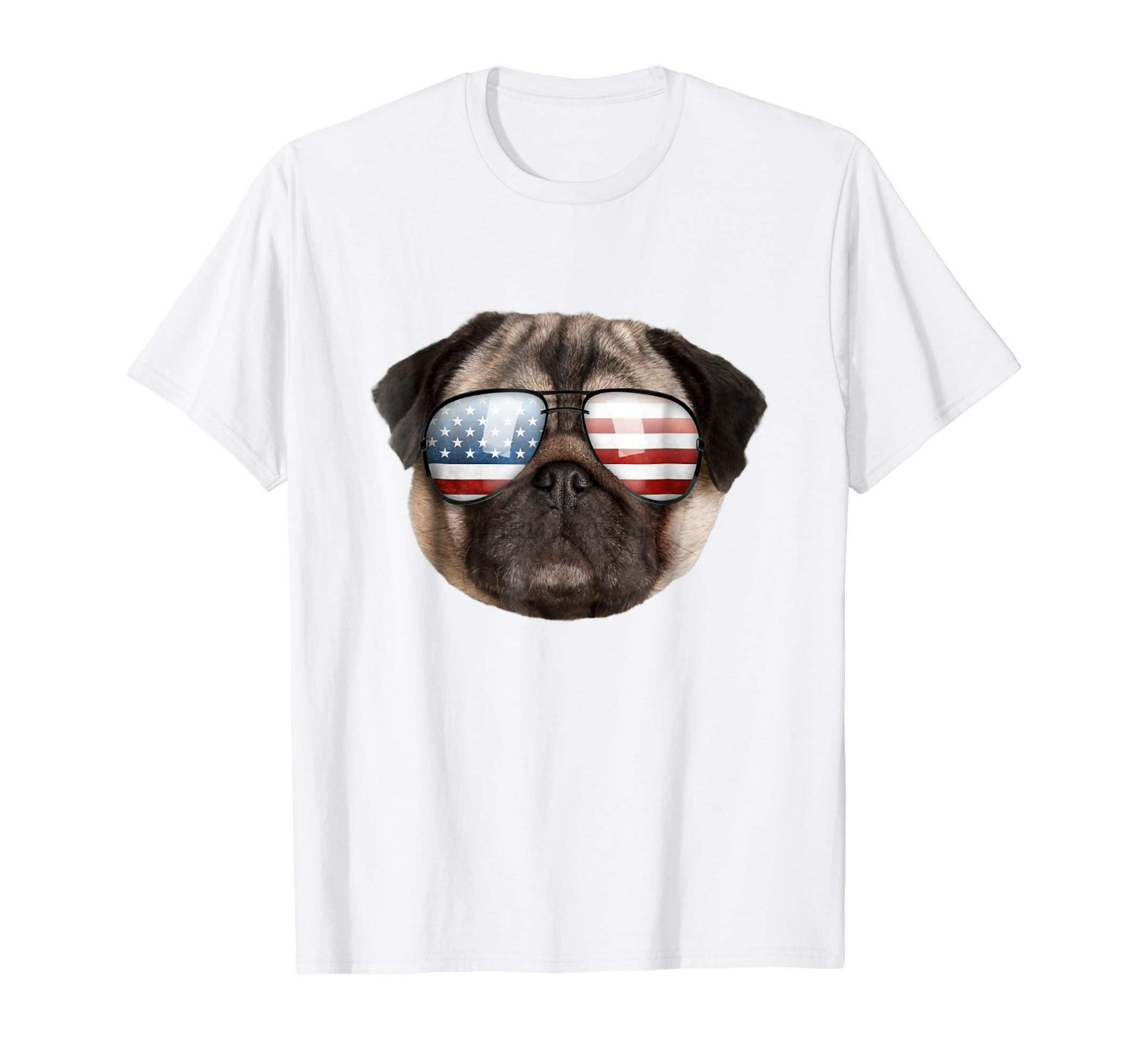 4 Temmuz için komik Sevimli Yurtsever Pug Amerika Güneş Köpek Tişört