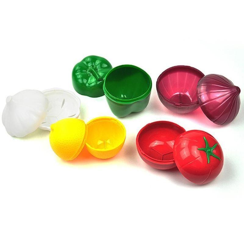 Forme de légumes en plastique Boîte de rangement mignon Organisateur ail oignon vert Cuisine Accessoires Outils Porte-poivre Pour X3J2