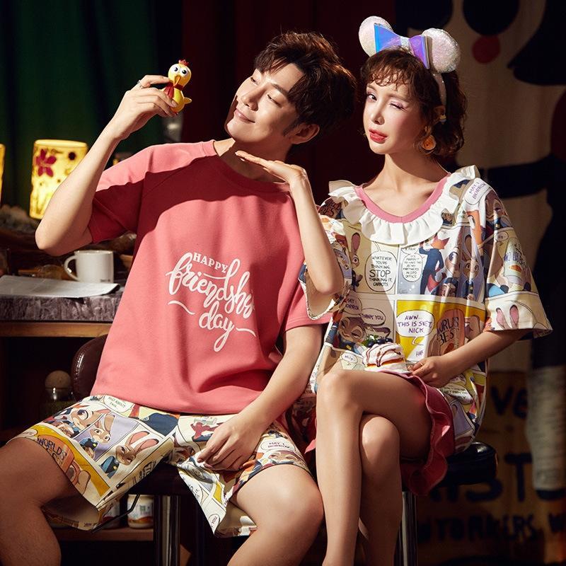 stile lvgBJ coreano a maniche corte in cotone pigiama dolce carino di bicchierini di usura e gli shorts casuali uomini e vestiti a casa delle donne casua allentata della coppia