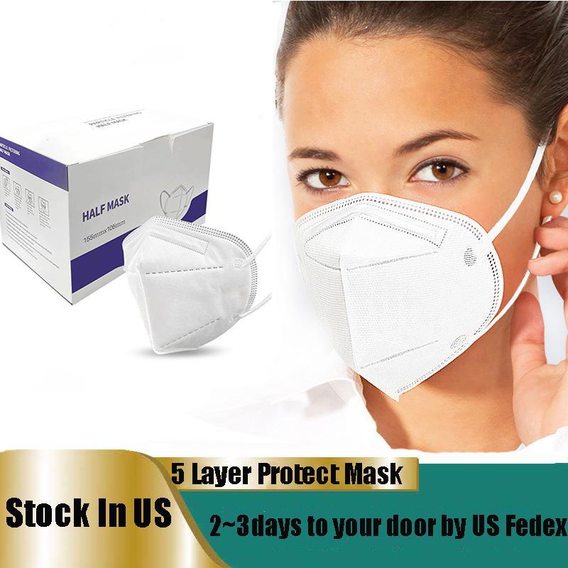 Stock en US Masque à usage unique Masques adultes 5 couche de protection couvre-face 10pcs blanc par boîte usine masques Wholsale