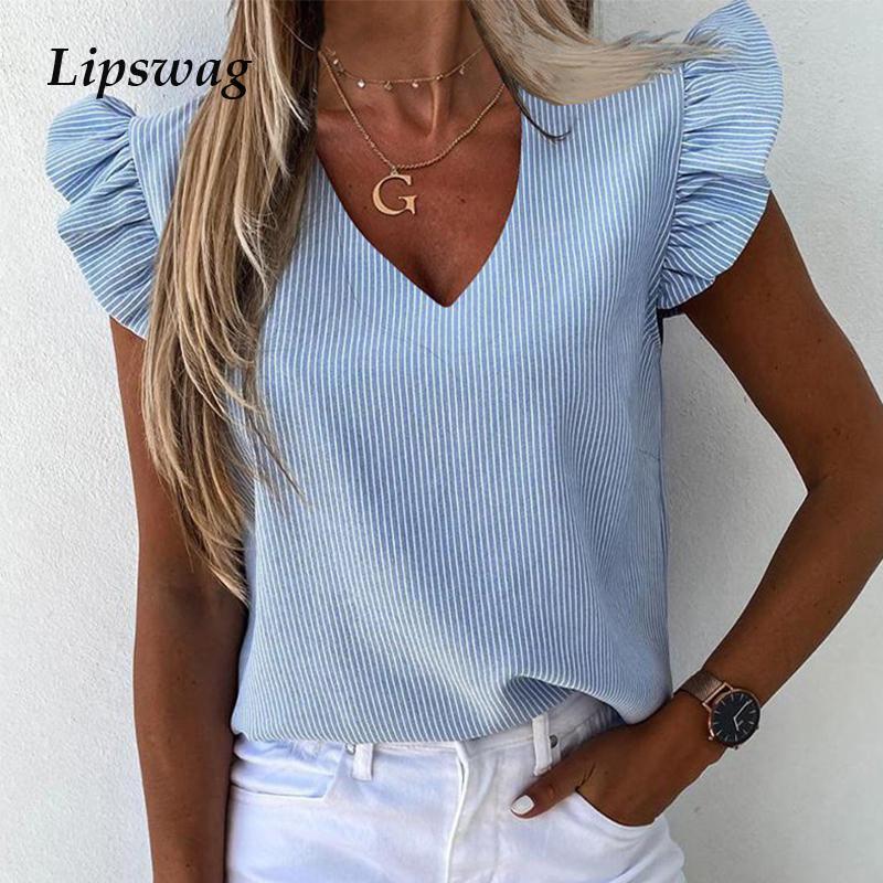 Donne Ananas stampa floreale Ruffle Blouse Shirt 2020 Estate maniche a farfalla elegante Office Lady O-Collo Tops Blusa Streetwear T200801