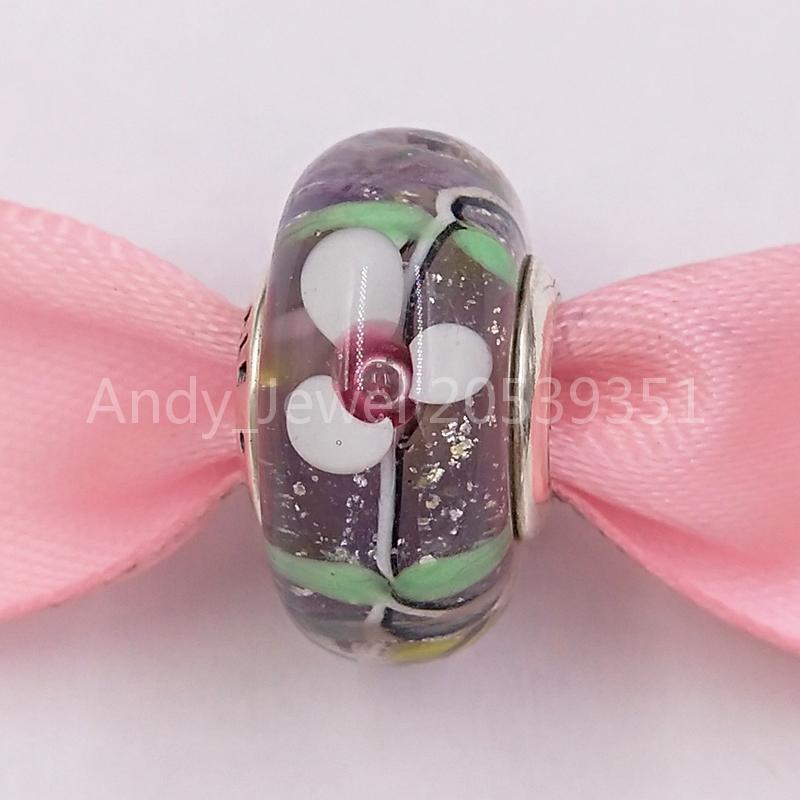Auténticas 925 cuentas de plata esterlina Encantada Glass Glass Murano Charm Charms Fits European Pandora Style Jewelry Pulseras Collar Mura