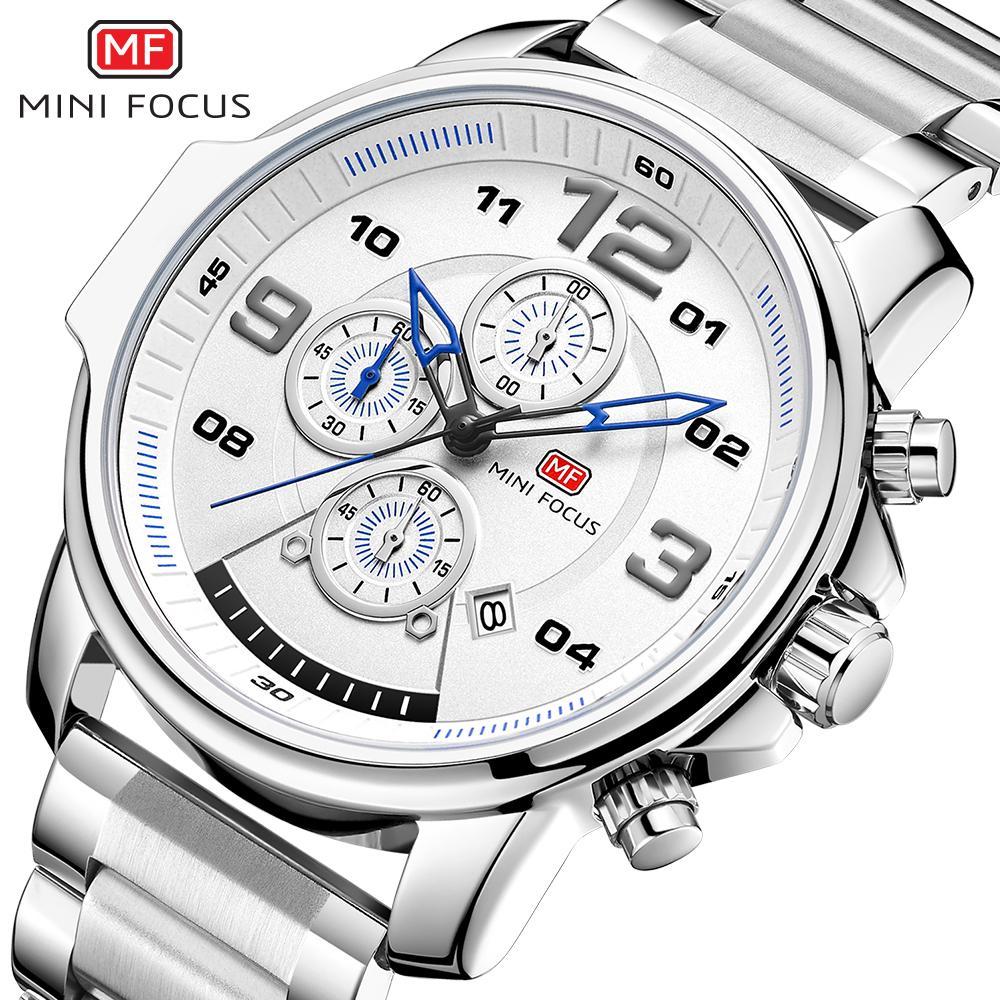 MINIFOCUS Erkekler İş İzle Marka İş Gümüş Paslanmaz Çelik Erkek Kuvars İzle Chronograph Spor Kol Erkek Su geçirmez Saat