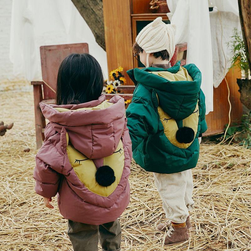 Новые средней длины детские утолщенной теплые пальто мальчиков Теплый пуховик и девочек пуховик