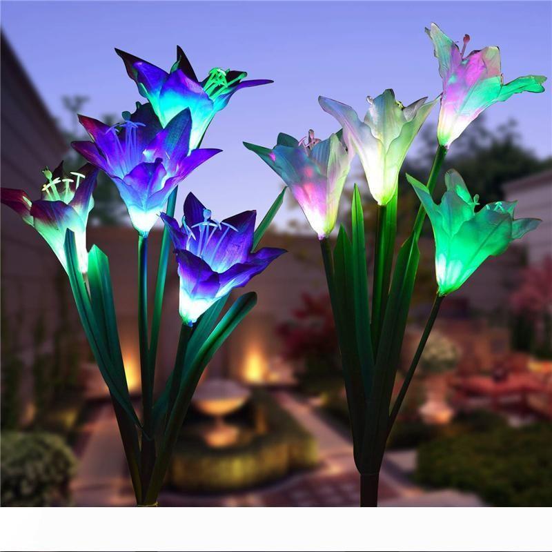 Bahçe Patio için Peyzaj Dekoratif Lamba IP55 Değişen Güneş Bahçe Bahis Işıklar LED Lily Çiçek Işıklar Çok Renkli