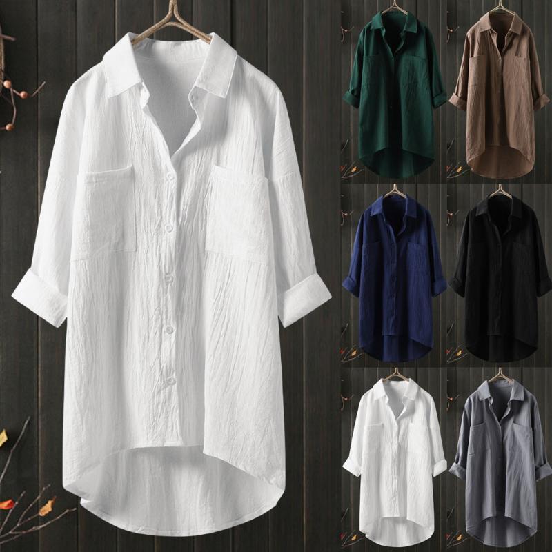 2020 ropa de algodón de colores sólidos transpirable blusas de la camisa irregular ocasionales de las mujeres Tops botón de la manga larga suelta camisas
